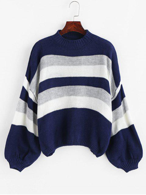 sale Lantern Sleeve Stripes Pullover Sweater - MULTI ONE SIZE Mobile