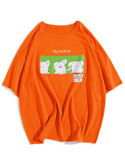 Cartoon Schwein Bruder Brief Grafik Print Drop Schulter T-Shirt - Orange S Mobile