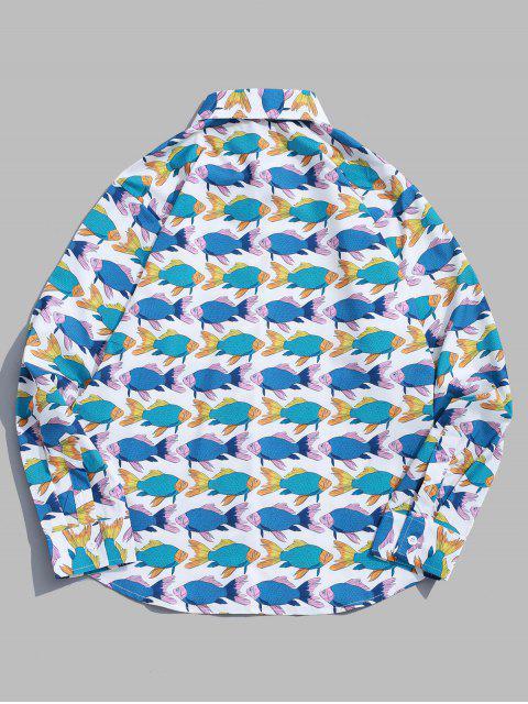 buy Long Sleeve Fish Allover Print Beach Vacation Shirt - MULTI M Mobile