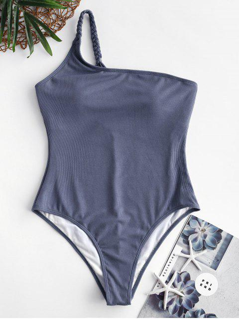 ZAFUL羅紋編織單肩連體泳衣 - 藍灰色 XL Mobile