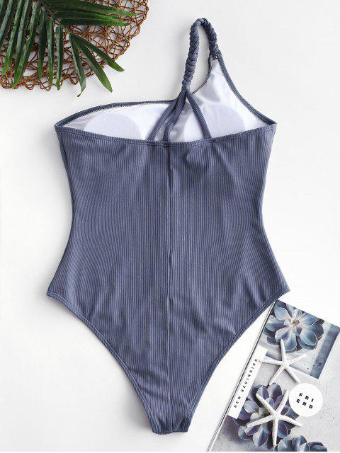 womens ZAFUL Ribbed Braided One Shoulder One-piece Swimsuit - BLUE GRAY L Mobile