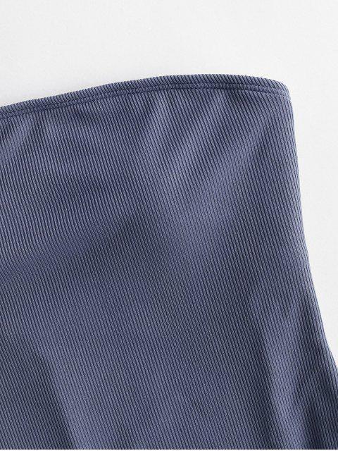 ZAFUL羅紋編織單肩連體泳衣 - 藍灰色 S Mobile