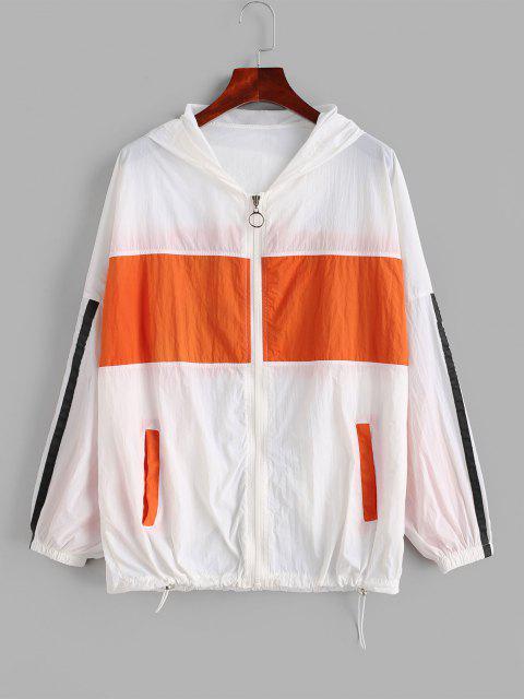 Zip Up Stripes Color Block Windbreaker Jacket - متعدد M Mobile