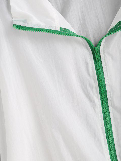 trendy Stripes Panel Flap Pocket Zip Up Jacket - MULTI S Mobile
