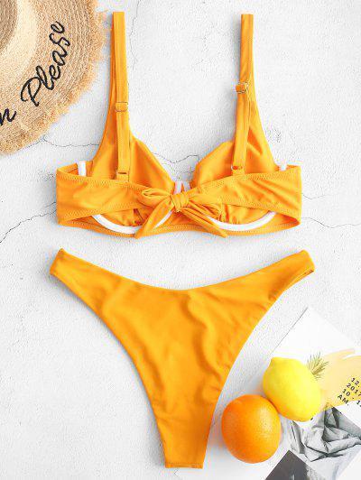085279330664 ... Costume Da Bagno Bikini ZAFUL Push Up Con Taglio Alto Annodato Sul  Retro - Gialllo Ape
