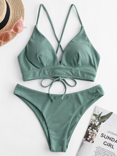 ZAFUL Ribbed Lace Up Cami Bikini Swimwear - Sea Turtle Green S