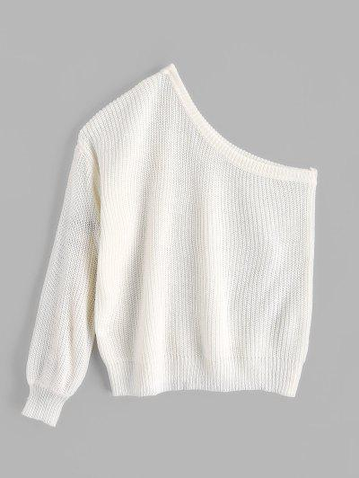 ZAFUL One Shoulder Lantern Sleeves Solid Sweater - White