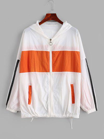 Zip Up Stripes Color Block Windbreaker Jacket - Multi S