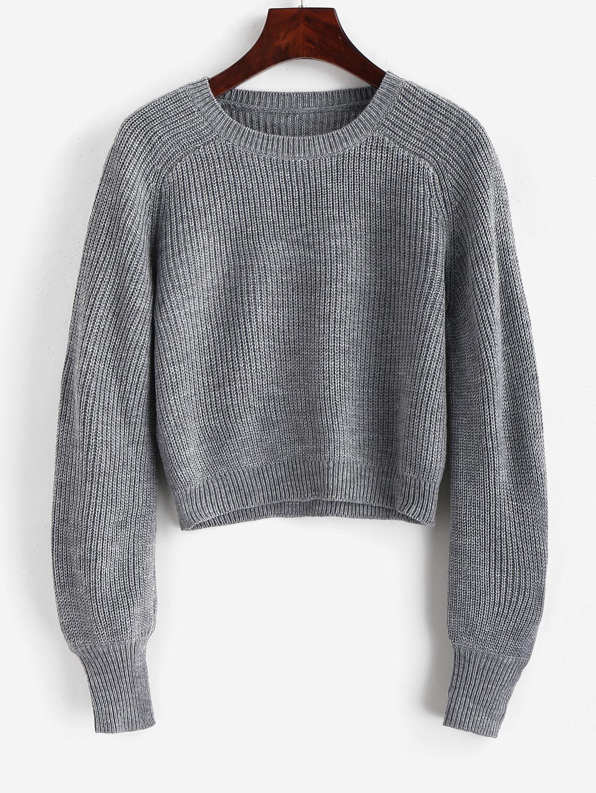 Raglan Sleeve Crew Neck Pullover Sweater, Gray