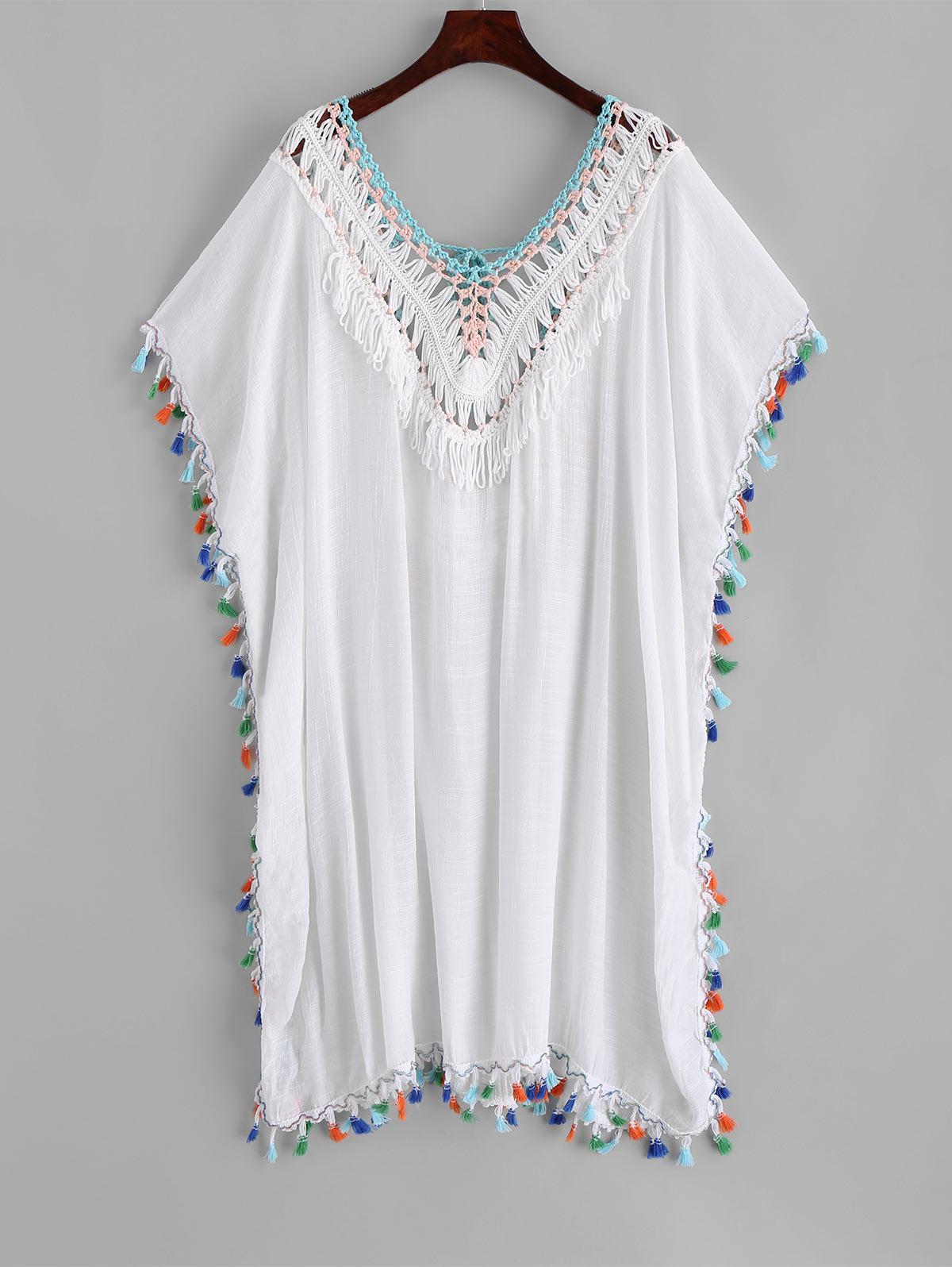 Tassels Crochet Panel Beach Kaftan Dress, White