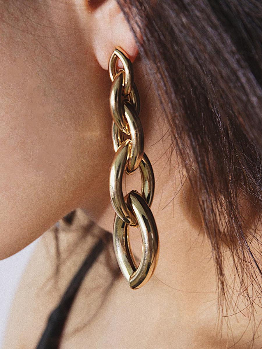 Link Chain Irregular Stud Drop Earrings, Gold