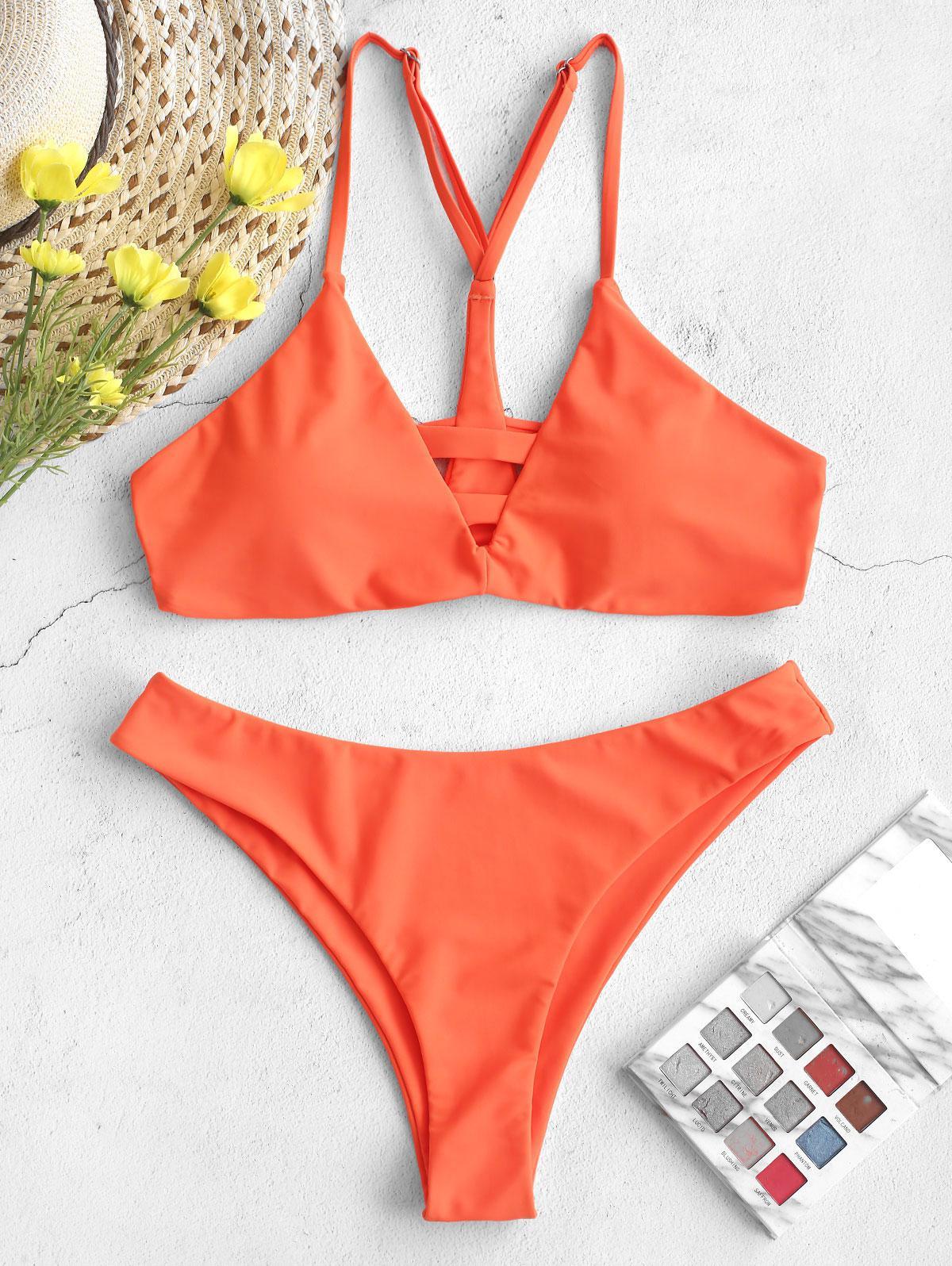ZAFUL Neon Taglio Alto Scaletta Foro Y-linea di Bikini Costume da bagno