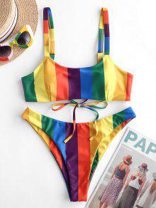 ZAFUL قوس قزح مخطط عالية الساق بيكيني ملابس السباحة - متعددة-a S