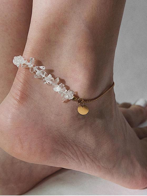 unique Simple Disc Natural Stone Chain Anklet - GOLD