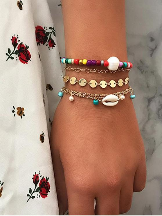 Set di braccialetti conchiglia a dischi colorati - Multi Colori