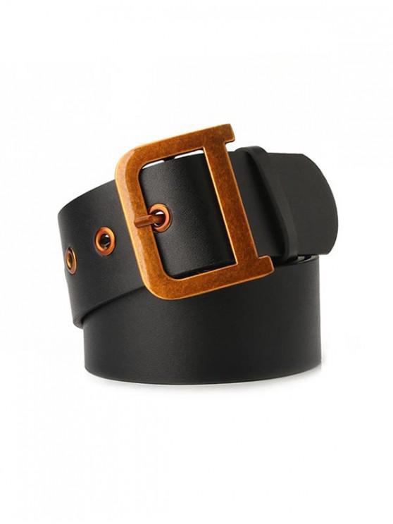 trendy Metal Buckle Vintage Waist Belt - BLACK