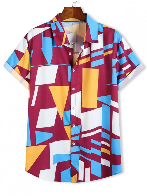women Color Blocking Geometric Print Button Up Vacation Shirt - MULTI-A L