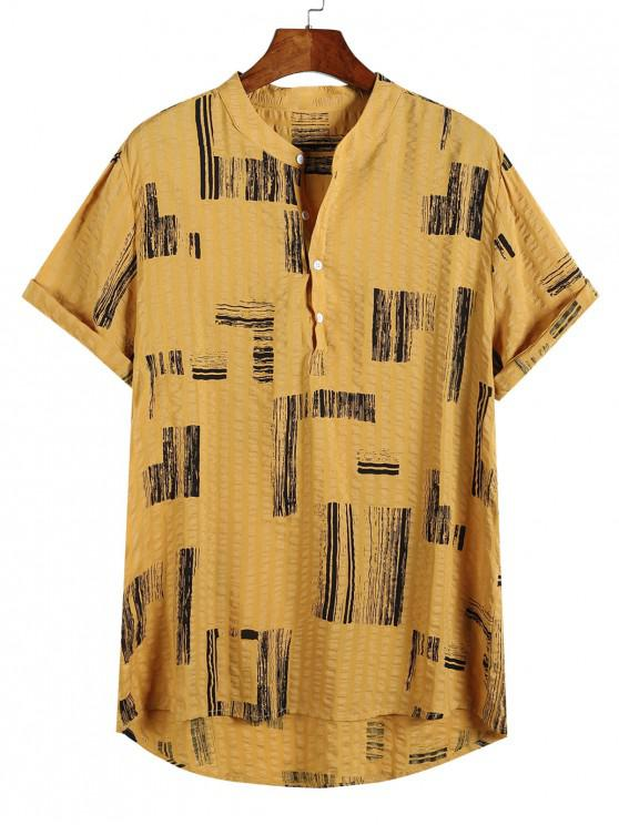 new Geometric Print Half Button High Low Casual Shirt - MULTI-B M