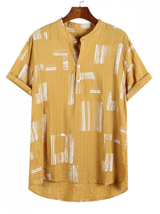 Camisa casual con estampado geométrico de medio botón y bajo - Multicolor-C M
