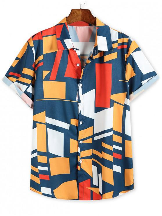 fancy Color Blocking Geometric Print Button Up Vacation Shirt - MULTI M