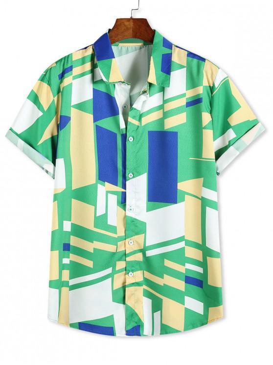 womens Color Blocking Geometric Print Button Up Vacation Shirt - MULTI-B XL