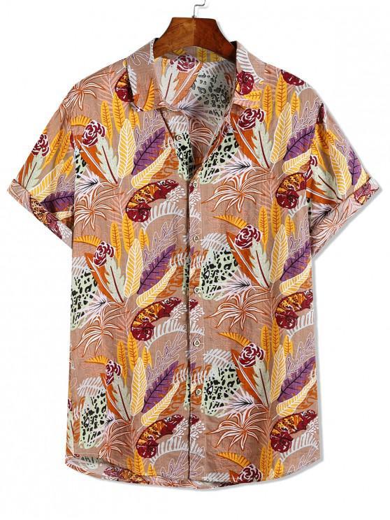 online Leopard Flower Plant Print Hawaii Beach Vacation Shirt - MULTI-A M