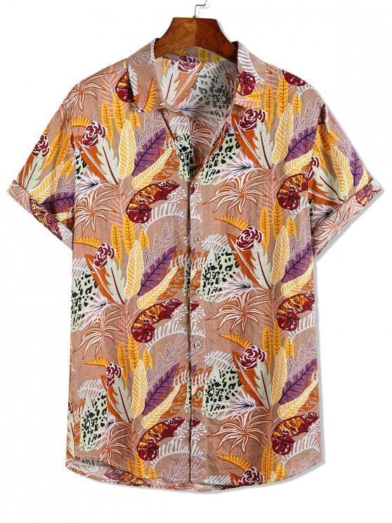hot Leopard Flower Plant Print Hawaii Beach Vacation Shirt - MULTI-A L