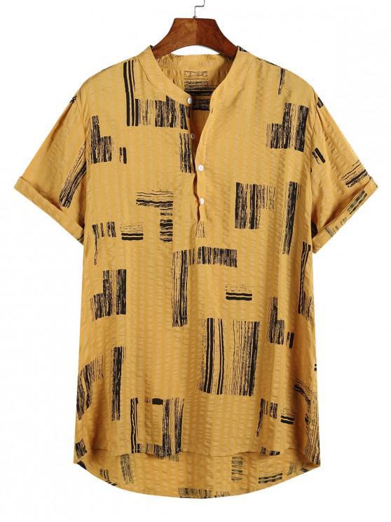 outfit Geometric Print Half Button High Low Casual Shirt - MULTI-B XL