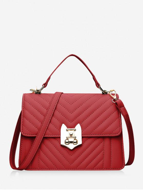 shops Top Handle Chevron Quilted Flap Crossbody Bag - RED