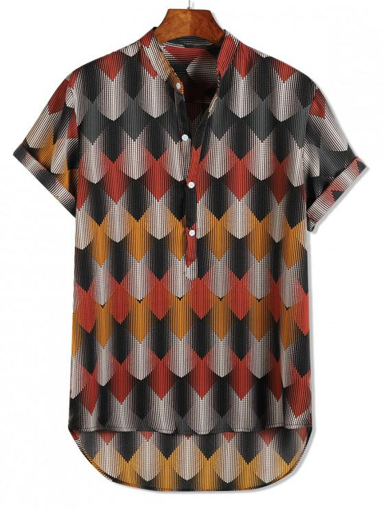 womens High Low Striped Geometric Pattern Half Button Shirt - MULTI L
