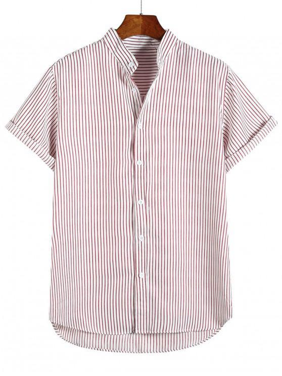 Camicia per le vacanze da spiaggia a maniche corte con stampa a righe basse - Rosso Mollissima L
