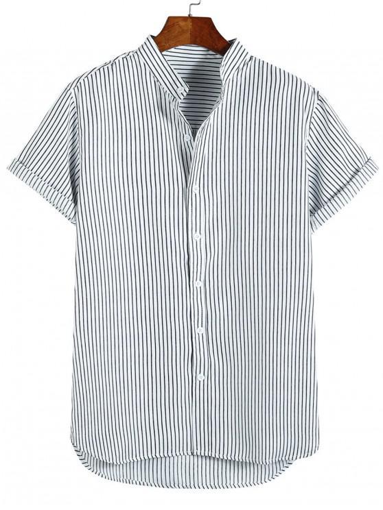 Camicia per le vacanze da spiaggia a maniche corte con stampa a righe basse - Nero XL