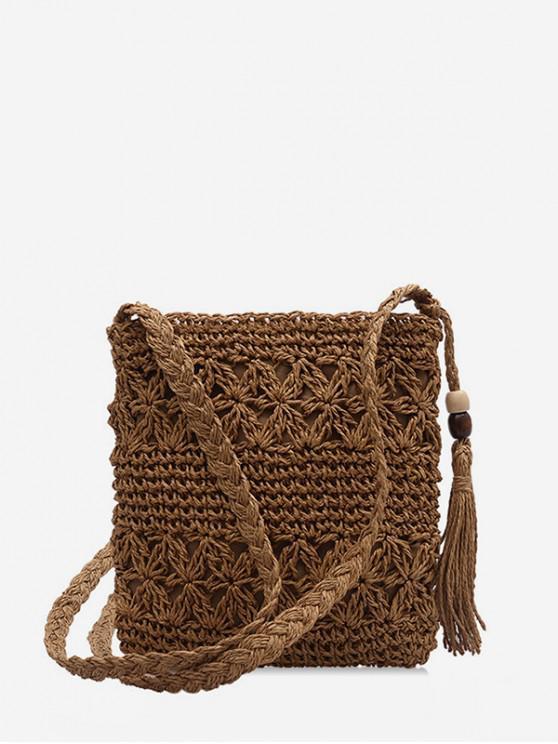 best Bohemia Tassel Shoulder Weaving Bag - KHAKI