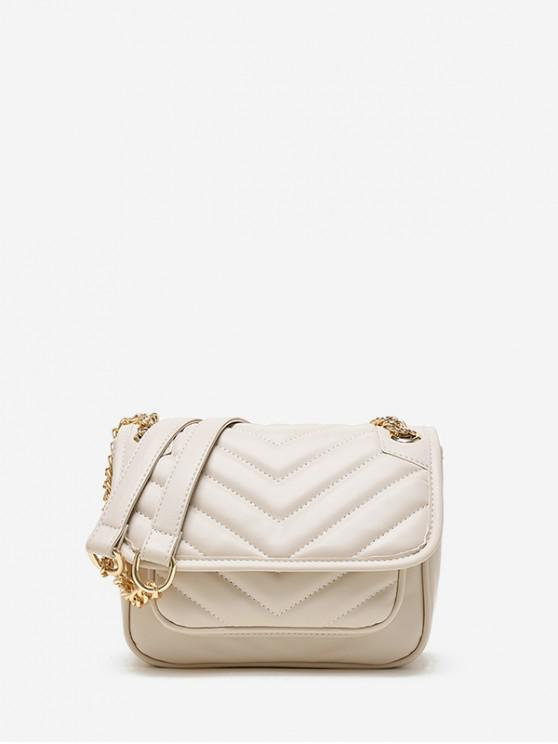 buy Chevron Quilted Flap Crossbody Bag - WARM WHITE