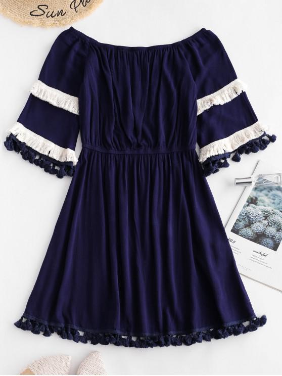 ZAFUL Spalle scoperte con nappe A Line Dress - Blu  Ardesia Scura L