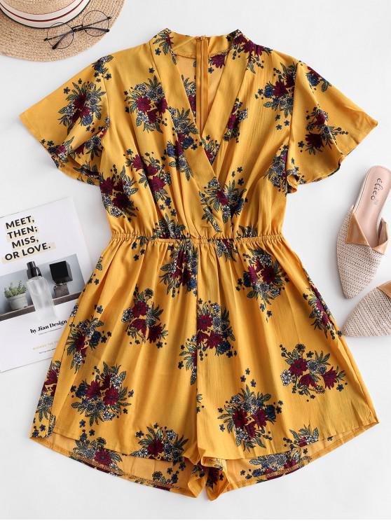 Mameluco floral de manga aleteo - Amarillo L