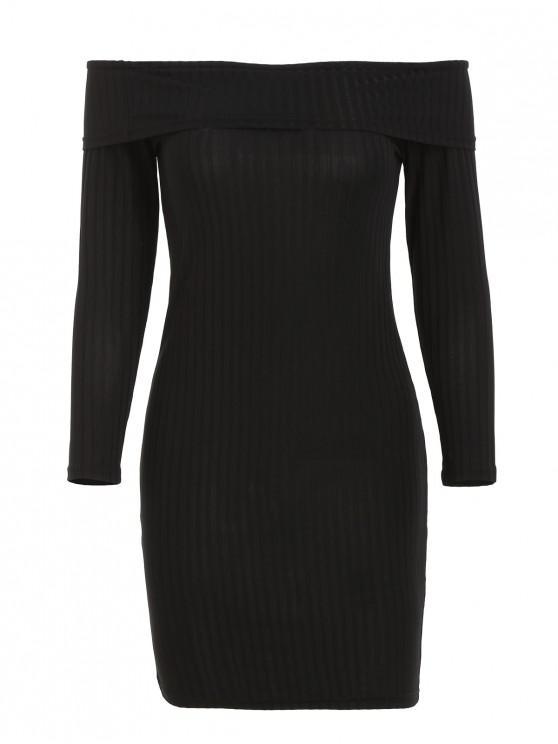 unique Ribbed Off Shoulder Bodycon Mini Dress - BLACK S
