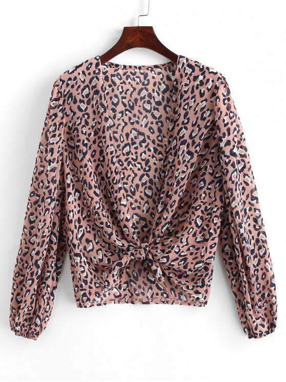 outfits Long Sleeve Tie Front Leopard Blouse - LIPSTICK PINK S
