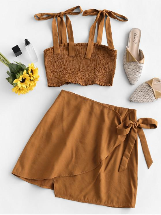 hot ZAFUL Smocked Crop Solid Overlap Two Piece Suit - LIGHT BROWN S