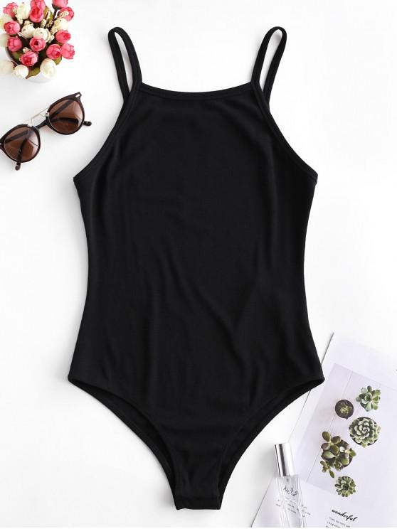 lady ZAFUL Solid Color Buttoned Cami Bodysuit - BLACK XL