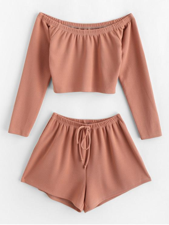 buy ZAFUL Ribbed Off The Shoulder Two Piece Set - DEEP PEACH L