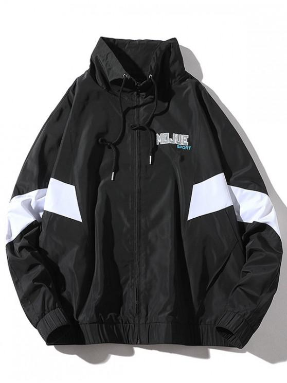 shops Color Block Splicing Letter Embroidery Jacket - BLACK XL