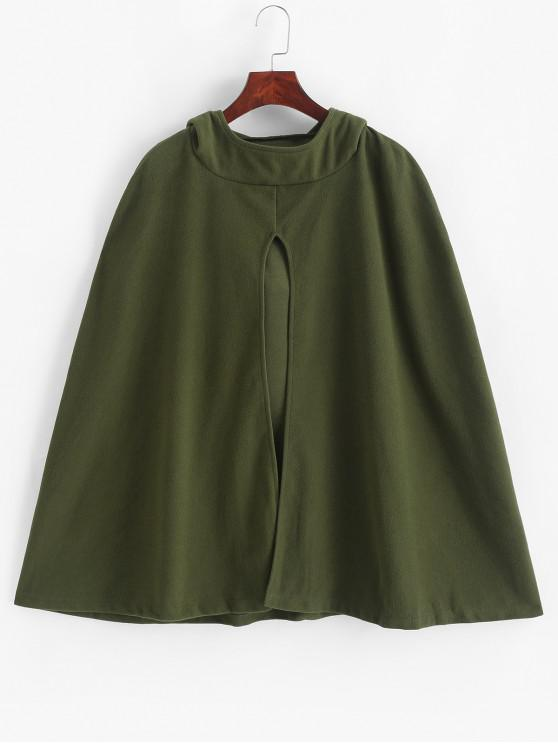 new Slit Front Hooded Solid Cape Coat - ARMY GREEN M