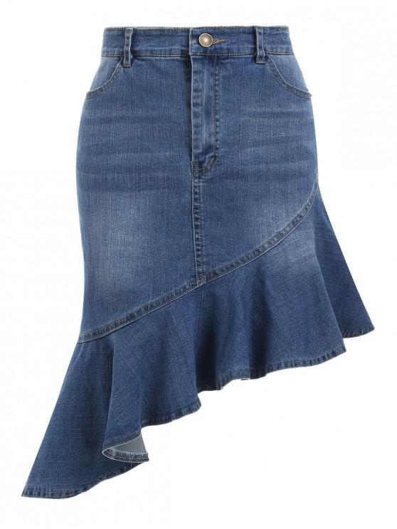 Falda asimétrica de mezclilla con dobladillo con volantes - Azul Denim XL