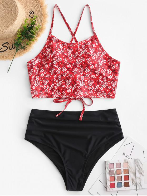 sale ZAFUL Ditsy Print Lace Up Tummy Control Tankini Swimsuit - LAVA RED XL