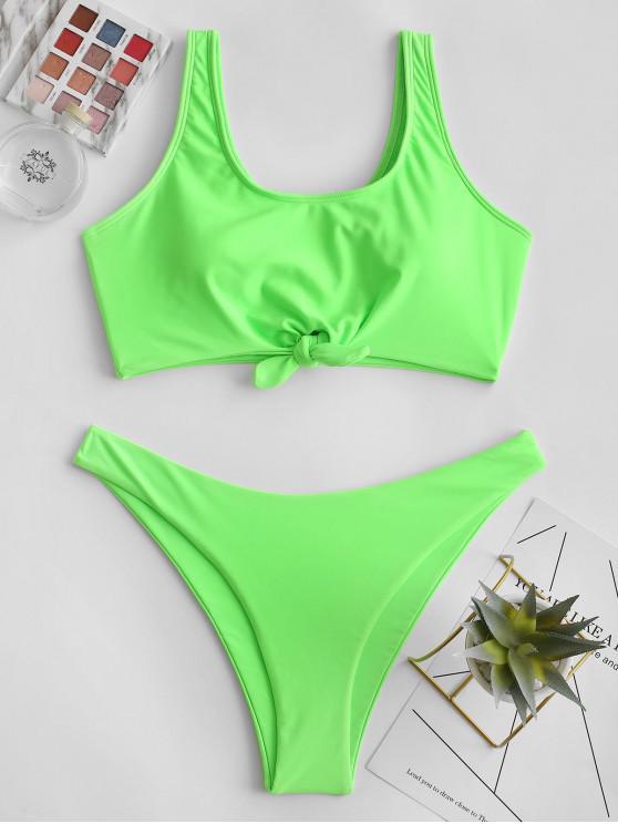 womens ZAFUL Knot High Cut Sports Bikini Swimsuit - GREEN M