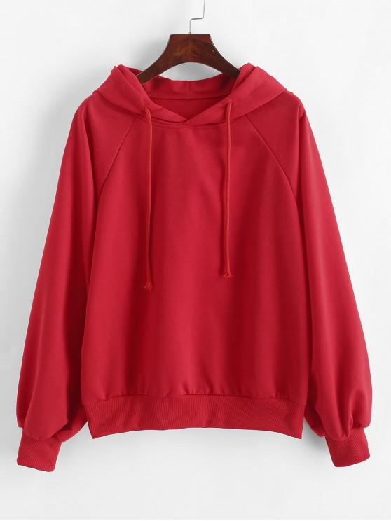 outfits Raglan Sleeves Solid Drawstring Hoodie - RED M