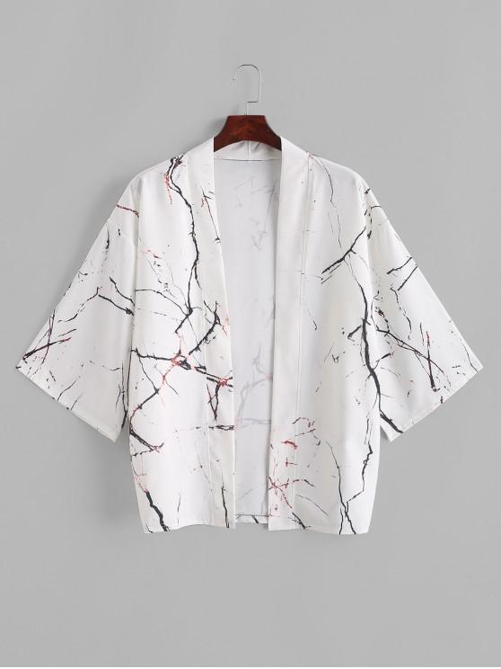 outfit Marble Grain Print Open Front Kimono Cardigan - WHITE 3XL
