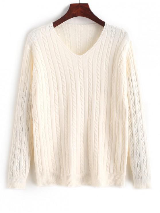 Suéter de punto de cuello sólido con cuello en V - Blanco Talla única