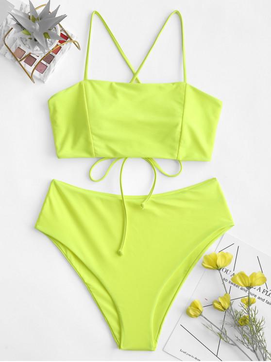 women's ZAFUL Crisscross Lace-up High Waisted Bikini Swimsuit - GREEN YELLOW M